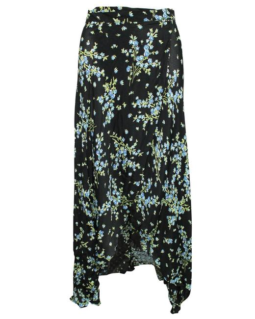 Item - Black Floral Print Wrap Midi -pre Owned Condition Skirt