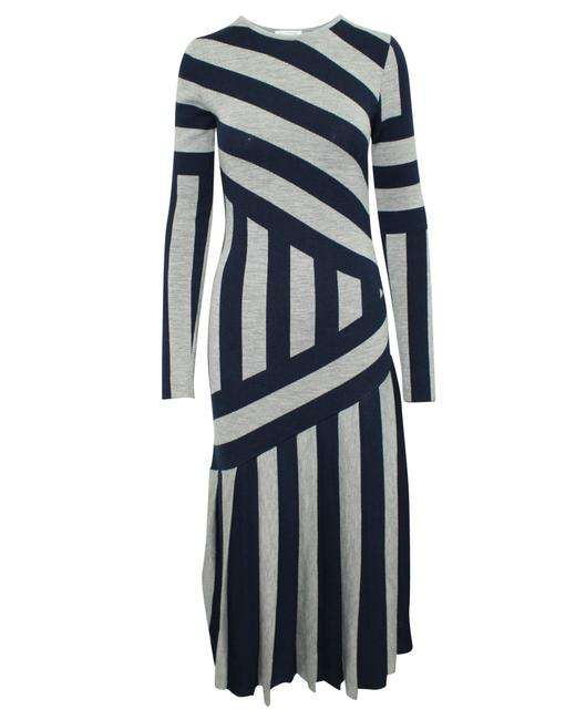 Item - Navy Blue and Grey Striped -pre Owned Condition Formal Dress