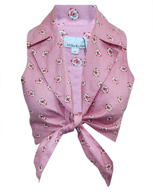 Item - Knotted Pink Printed Top -pre Owned Condition Very Good M Blouse