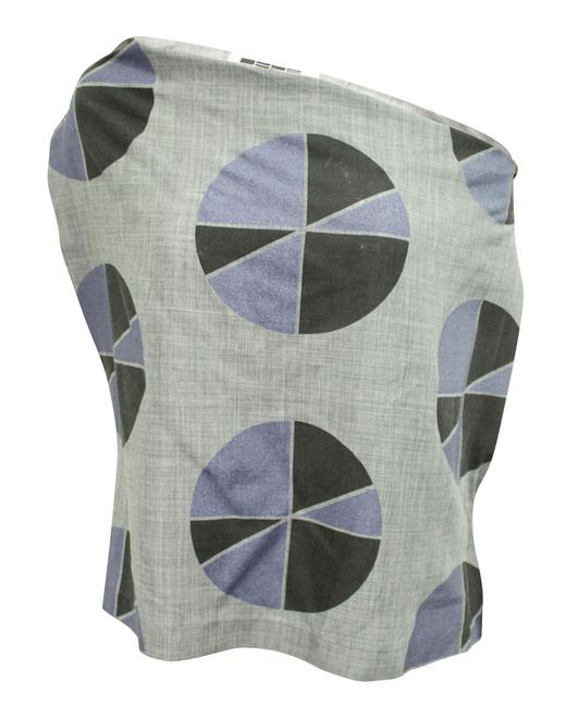 Item - Asymmetric Grey Top with Print -pre Owned Condition Very Blouse