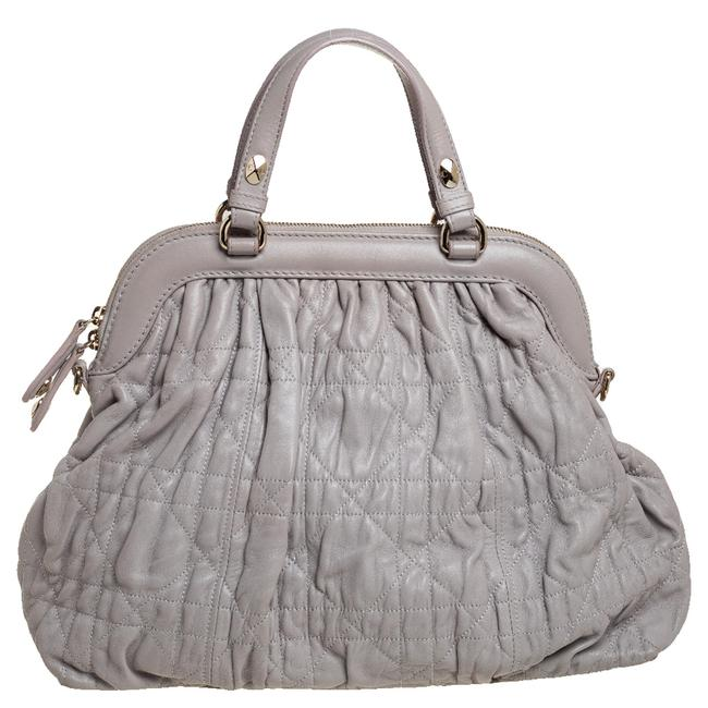 Item - Pewter Grey Quilted Cannage Leather Delices Frame Bag Satchel