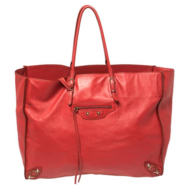 Item - Red Leather Papier A4 Tote