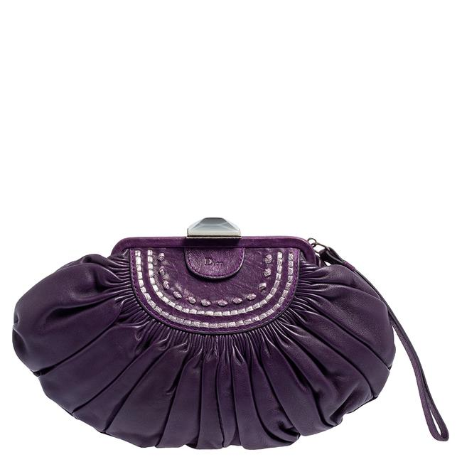 Item - Purple Pleated Leather Frame Clutch