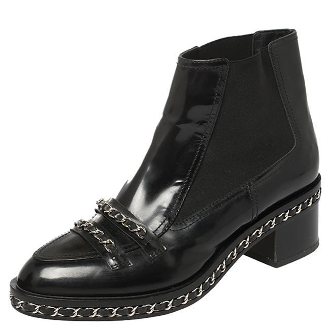Item - Black Patent Leather and Fabric Chain Embellished Ankle Size 40 Boots/Booties