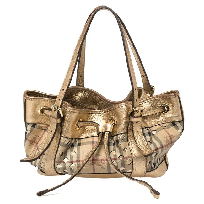 Item - Beige/Gold Haymarket Check Coated Canvas and Leather Drawstring Tote