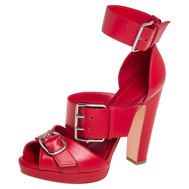 Item - Red Leather Buckle Detail Ankle Cuff Size 38 Sandals