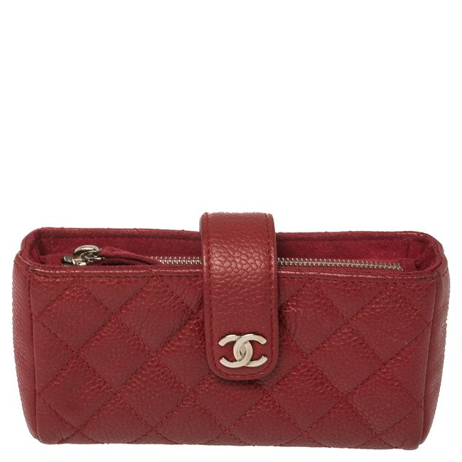 Item - Red Quilted Caviar Leather Cc Phone Pouch Clutch