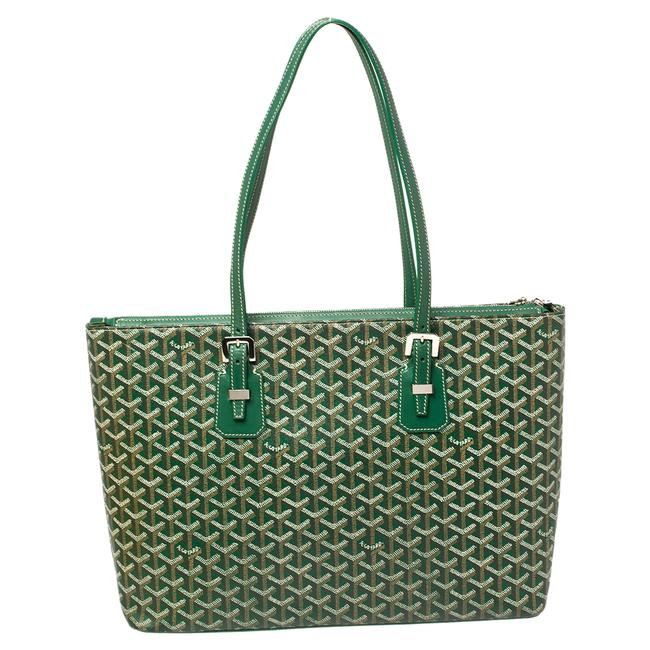 Item - Green ine Coated Canvas and Leather Okinawa Gm Tote