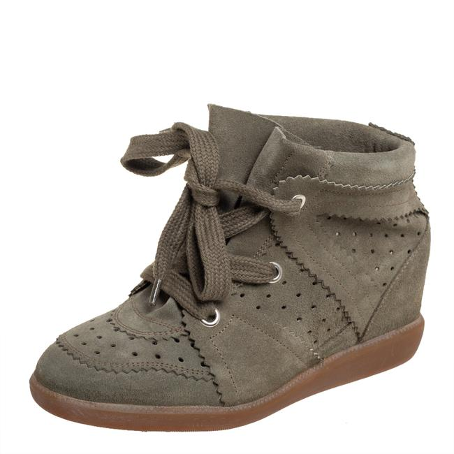 Item - Bobby Olive Green Suede Wedge Sneakers Size 37 Athletic