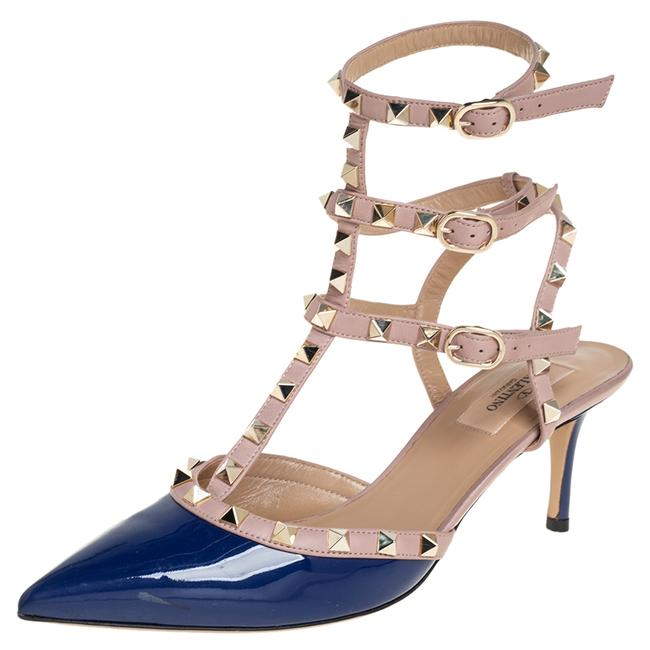 Item - Blue/Beige Patent and Leather Rockstud Ankle Strap Size 39.5 Sandals