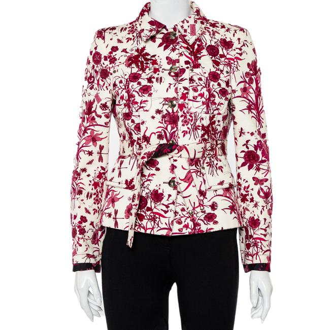 Item - Cream Floral Printed Cotton Belted Button Front Jacket