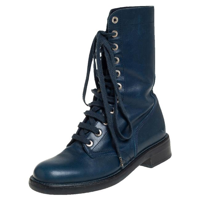 Item - Blue Leather Combat Lace Up Mid Calf Size 38.5 Boots/Booties