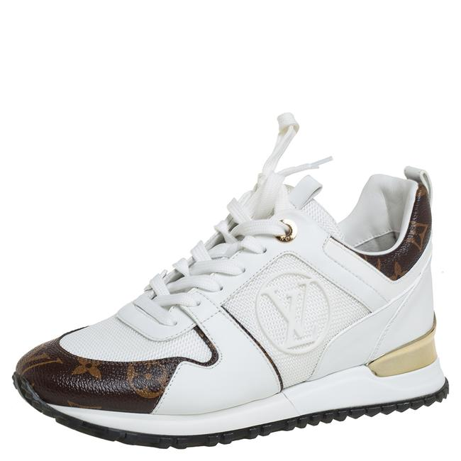 Item - White/Brown Mesh and Monogram Canvas Run Away Sneakers Size 35 Athletic