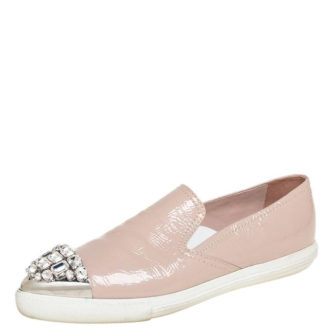 Item - Beige Patent Leather Crystal Embellished Cap Toe Slip On Sneakers Size 38.5 Athletic