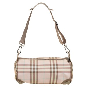 Burberry Pink Housecheck Pvc and Leather Shoulder Bag