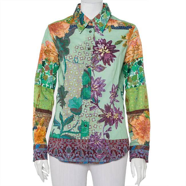 Item - L Green Printed Cotton Button Front Shirt Blouse