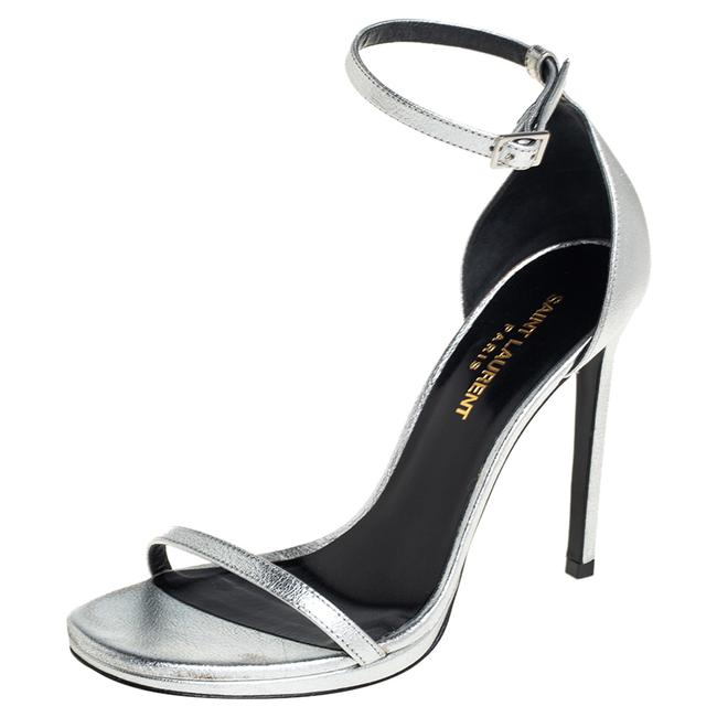 Item - Jane Silver Leather Ankle Strap Size 37 Sandals