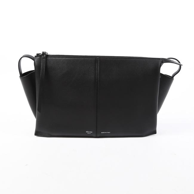 Item - Trifold Black Leather Chain Strap Bag Clutch