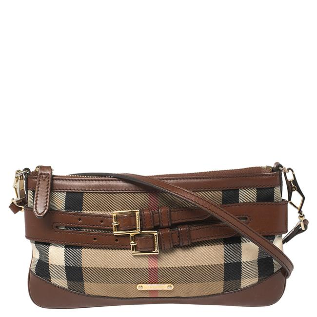 Item - Crossbody Brown/Beige House Check Fabric and Leather Shoulder Bag