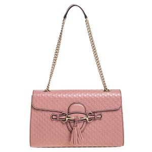 Gucci Emily Chain Pink Microguccissima Leather Medium Shoulder Bag