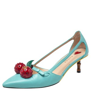 Gucci Blue Leather Cherry-embellished Size 36 Pumps