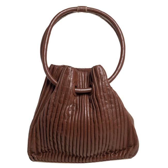 Item - Brown Pleated Leather Ring Handle Tote