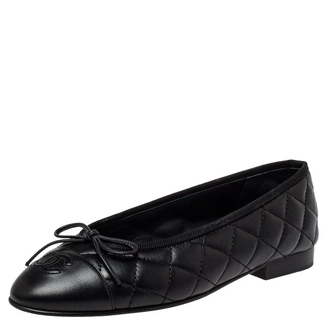 Item - Black Quilted Leather Cc Bow Ballet Size 35.5 Flats