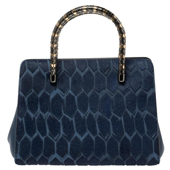Item - Leather and Calf Hair Serpenti Scaglie Tote Shoulder Bag