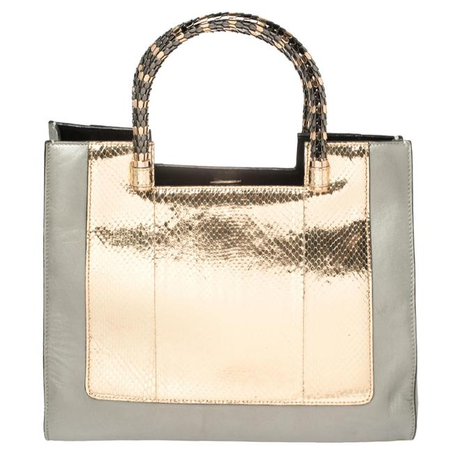 Item - Gold/Silver Leather and Kurung Serpenti Scaglie Tote