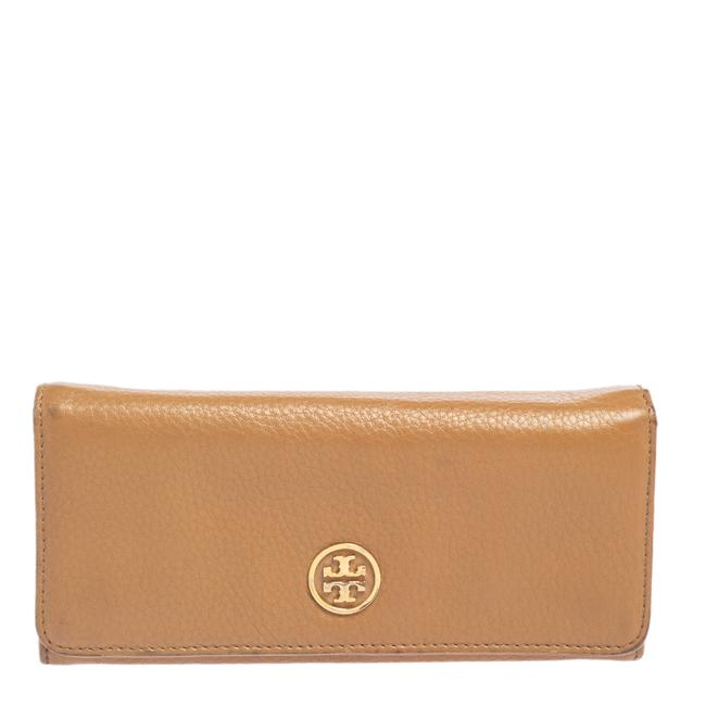 Item - Robinson Tan Leather Flap Continental Wallet