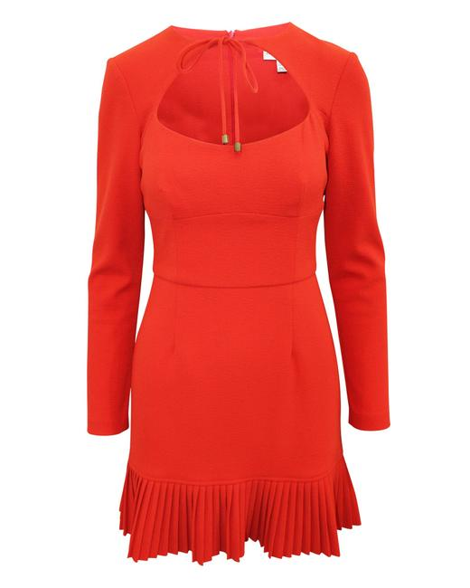 Item - Orange/Red Dress with Front Opening and Pleats