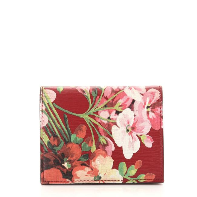 Item - Flap Card Case Blooms Print Leather Wallet