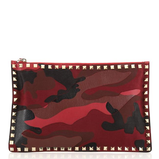 Item - Rockstud Pouch Camo Leather and Canvas Large Clutch