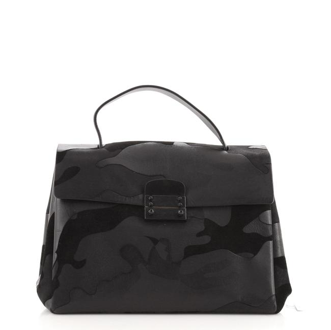 Item - Top Handle Flap Bag Camo Leather and Suede Medium Tote
