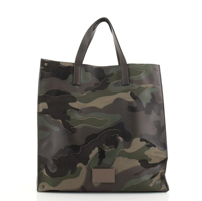 Item - Open Camo Leather and Canvas North South Tote