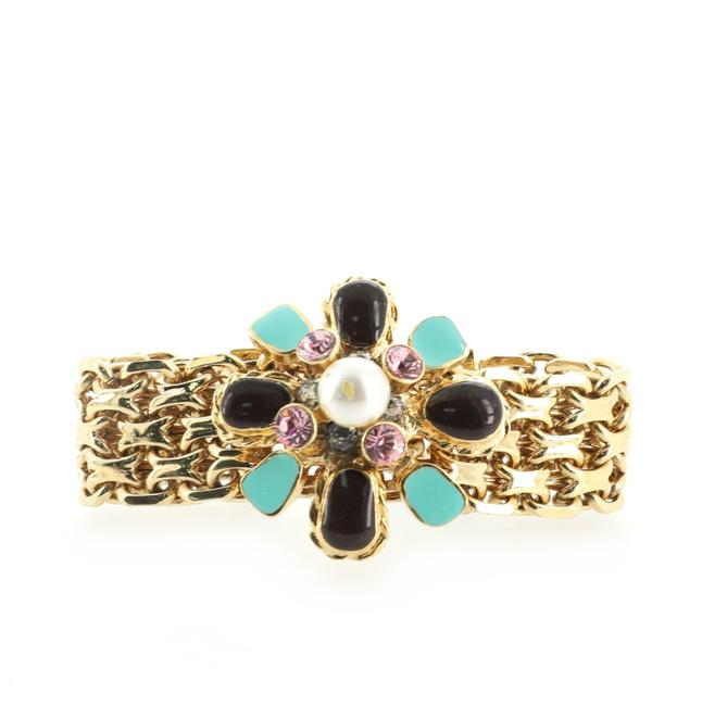 Item - Cc Cross Bracelet Metal with Gripoix and Crystals Jewelry