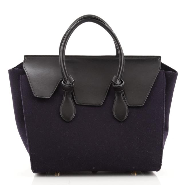 Item - Tie Knot Leather and Felt Small Tote