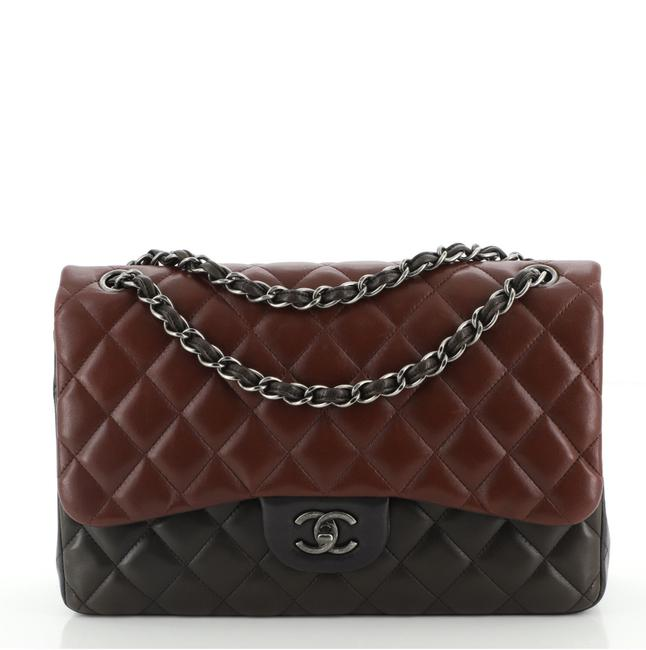 Item - Tricolor Classic Double Flap Quilted Lambskin Jumbo Shoulder Bag