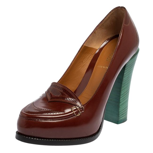 Item - Brown Perforated Leather Loafer Size 35 Pumps