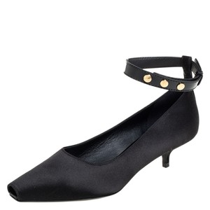 Burberry Black Satin and Patent Leather Kitten Heel Peep Toe Ankle Strap Size 39 Pumps