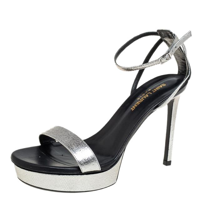 Item - Metallic Silver Textured Leather Open Toe Ankle Strap Size 37 Sandals