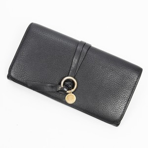 Chloé Alphabet Long Bifold Black In Grained Leather Wallet