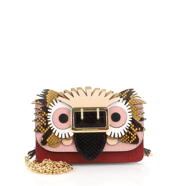 Item - Buckle Chain Leather with Snakeskin and Applique Mini Cross Body Bag