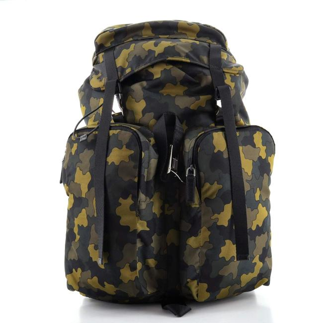 Item - Double Pocket Buckle Printed Tessuto Large Backpack