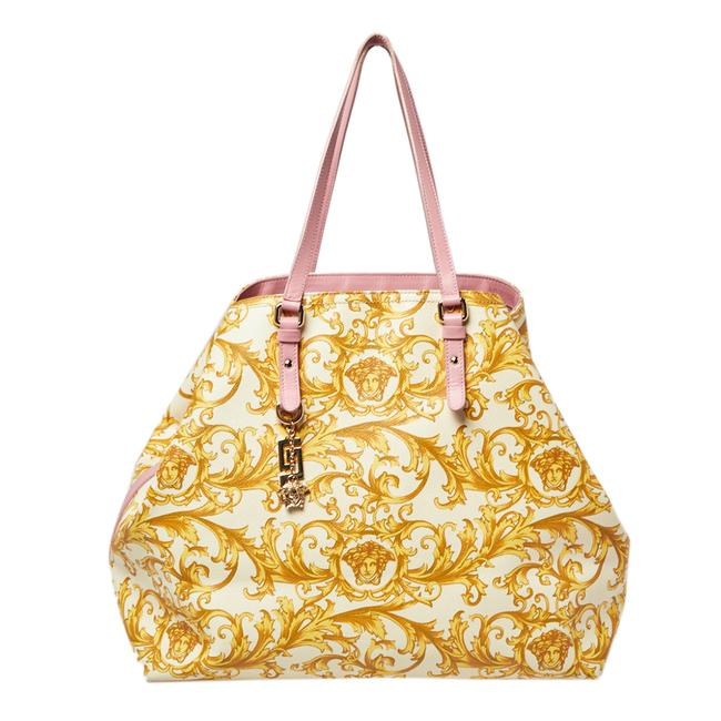 Item - Beige/Yellow Coated Canvas Borocco Print Tote