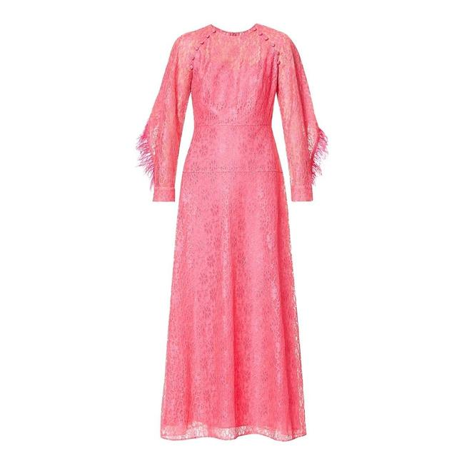 Item - Floral Lace and Feather Trimmed Gown Casual Maxi Dress