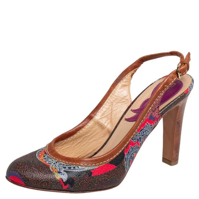 Item - Brown Paisley Print Coated Canvas and Leather Trim Slingback Size 37 Pumps