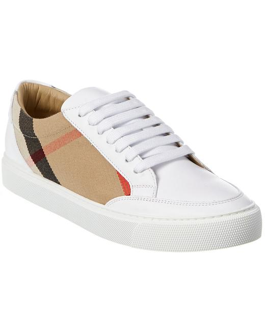 Item - Check Canvas & Leather Sneaker 8024326 Athletic