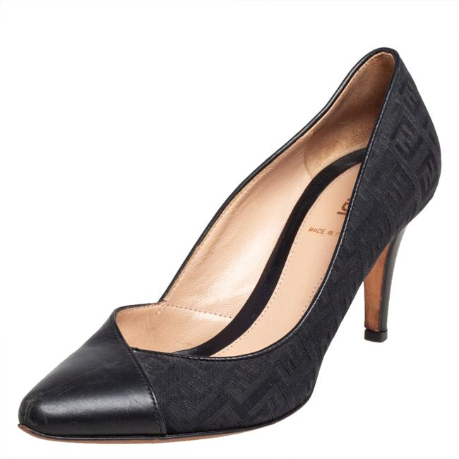 Item - Blue/Black Zucca Canvas and Leather Pointed Size 37 Pumps