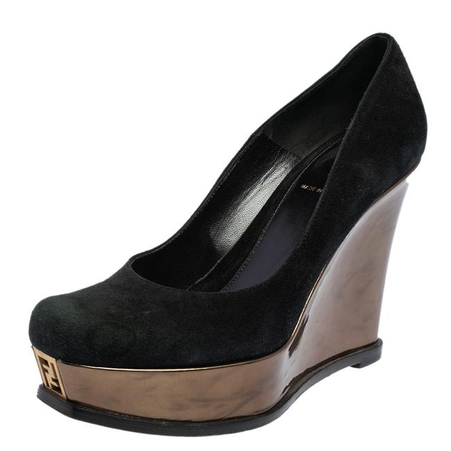 Item - Black/Gold Suede and Patent Leather sta Platform Wedge Size 38 Pumps